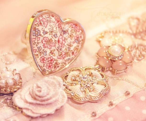 jewels heart ring floral flowers necklace jewelry
