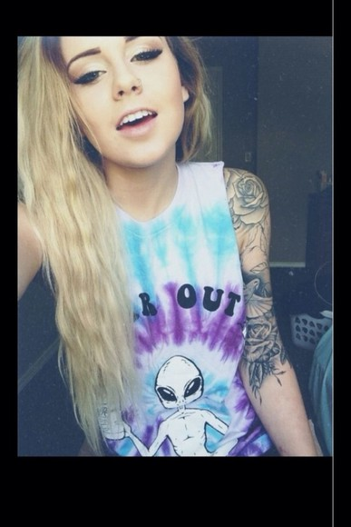 tie-dye tie dye shirt blue muscle tee purple alien colourful high