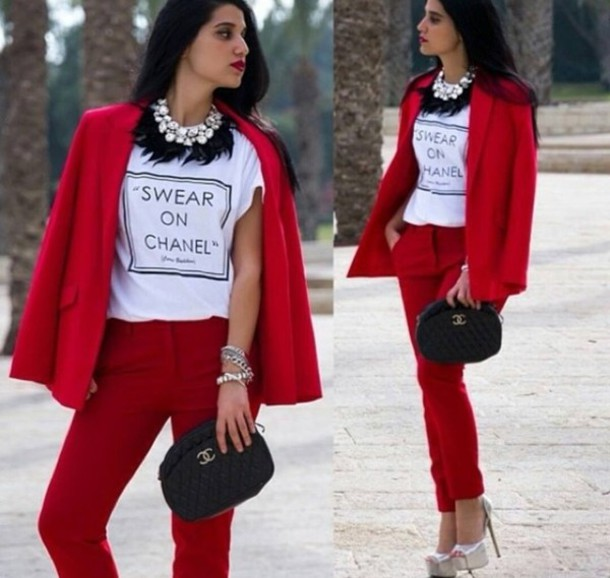 jacket red office outfits jeans shoes bag jewels t-shirt