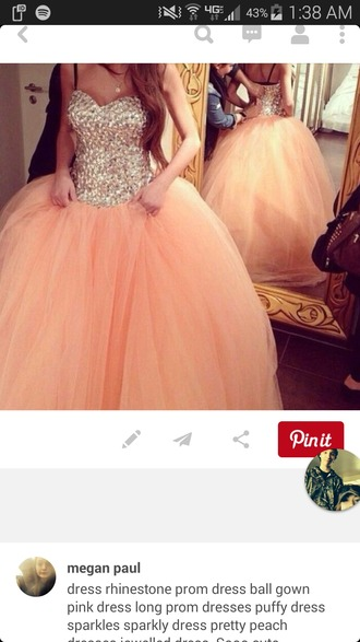 dress prom dress ball gown dress peach dress rhinestones