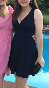 dress,blue dress,blue,v neck,v neck dress,short,short dress,short prom dress,short homecoming dress,navy,navy dress,dark,dark blue,dark blue dress,cute,cute dress,cute outfits,perfect,pretty,a simple v,curvy,simple dress