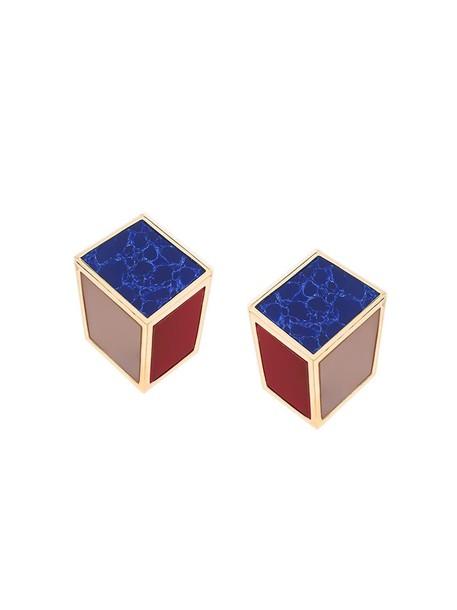 metal women earrings gold blue marble jewels