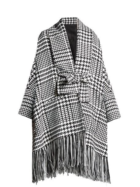 Balmain coat oversized wool white black