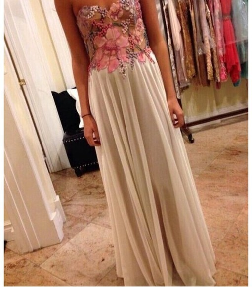 dress summer dress maxi dress long prom dresses flowered dress prom dress beige, tan, prom, dress cute dress