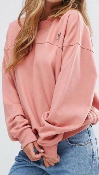 sweater light pink adidas sweatshirt hoodless