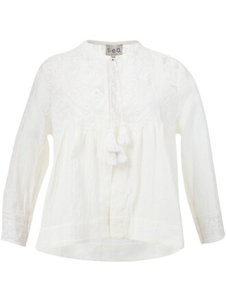 top peasant top lace white