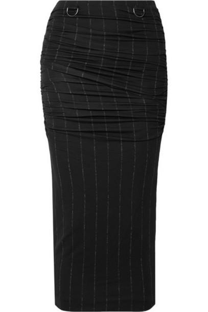 Max Mara - Dalida Ruched Pintriped Stretch-jersey Midi Skirt - Black