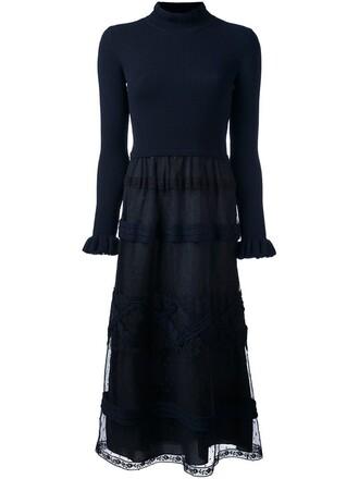 dress sweater dress lace blue