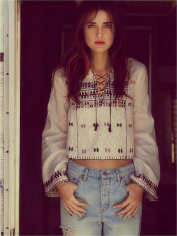 blouse shirt top hippie chic hippie hipster jeans