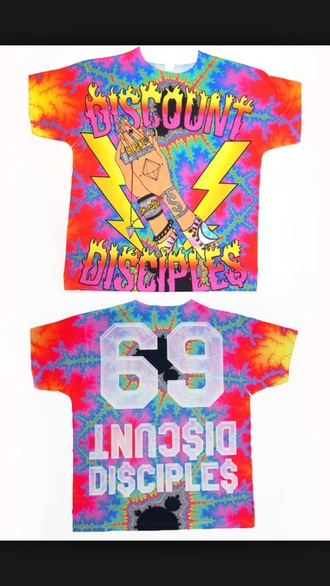 t-shirt colorful miley cyrus money nail polish hands fun 69 psychedelic trippy colorful cool shirts