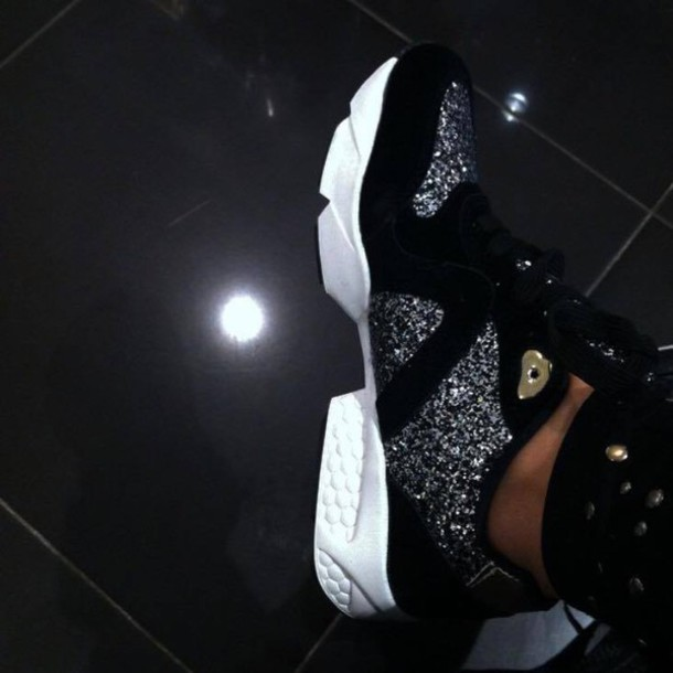 shoes trainers glitter black grey rihanna gold sports shoes embellished glamour sparkle sneakers running shoes