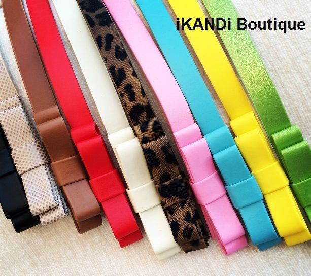 Ladies womens girls candy fashion pu leather waist skinny thin bow buckle belt