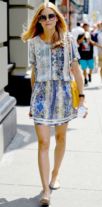 dress summer dress olivia palermo flats ballet flats summer outfits sunglasses shoes printed ballerinas