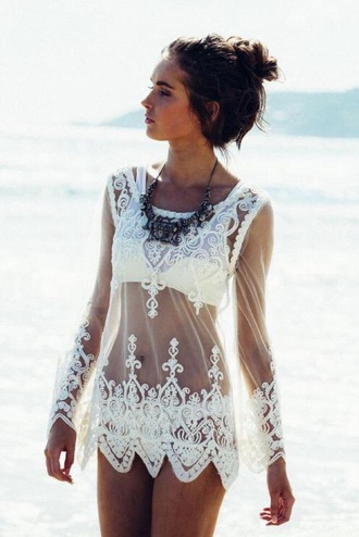 swimwear white lace see through coverup swimsuit coverup