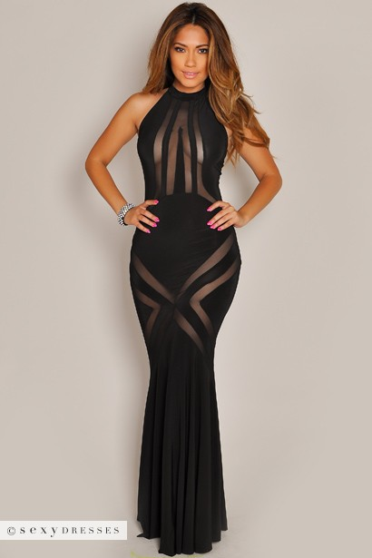 99b7d1d8705c Gabrielle Black Long Mesh Cut Out Dress
