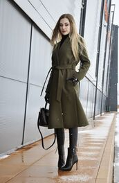 coat,tumblr,green coat,pants,black pants,black leather pants,leather pants,boots,black boots,high heels boots,pointed boots,bag,black bag,winter work outfit,work outfits,leather gloves,gloves,blonde hair,turtleneck,black turtleneck top