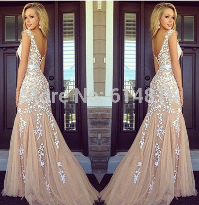 dcebe5def74 Aliexpress.com   Buy Elegant Sexy White Lace Appliques Champagne Tulle  Mermaid Prom Dresses 2014 Backless Fashion Special Occasion Dress For ...