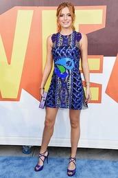 dress,party dress,bella thorne,blue,mtv movie awards,sandals,lace,mini dress