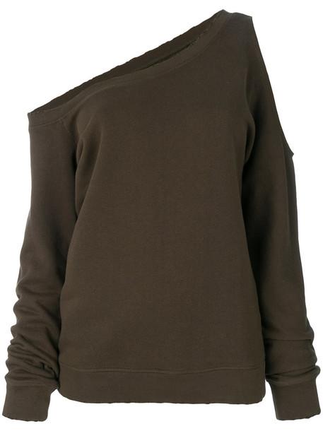 Rta - asymmetric sweatshirt - women - Cotton - XS, Green, Cotton