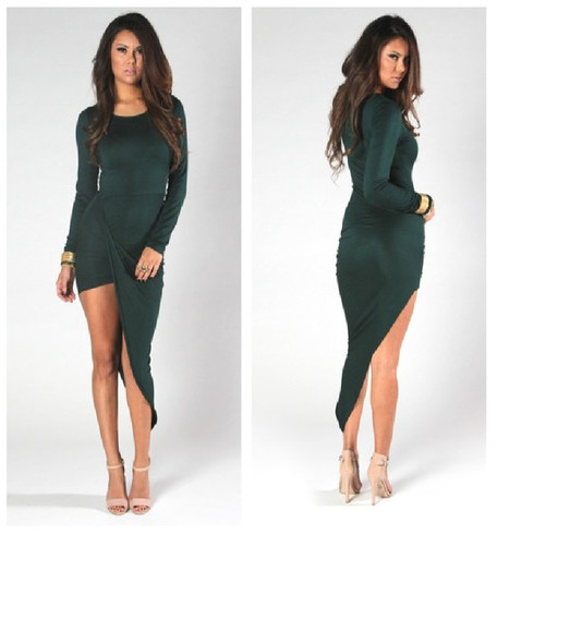 dress slit bodycon slit dress green emerald maxidress