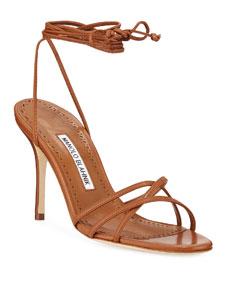 Manolo Blahnik Leva Metallic Strappy Ankle-Wrap Sandals