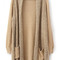 Khaki long sleeve pockets loose cardigan sweater -shein(sheinside)