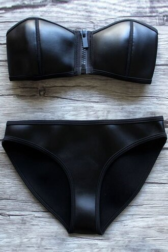 swimwear zaful goth bikini beach leather sexy push up bikini trendy swimwear two piece bikini top bikini bottoms black bikini black leather bikini leather swimwear latex zipper bikini zip