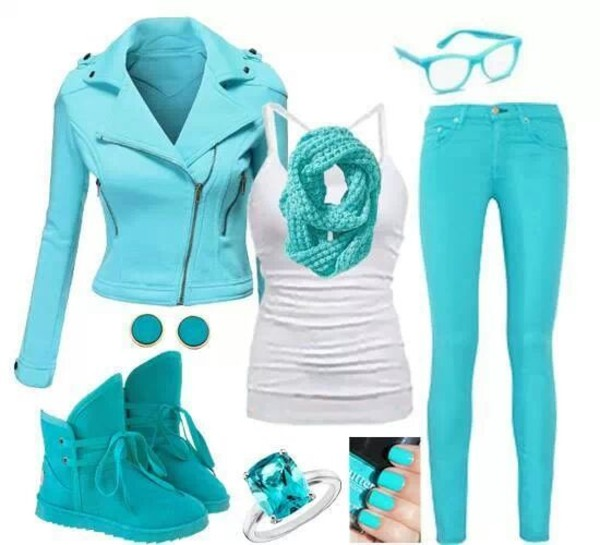 jeans jacket jewels scarf shoes aqua earphones tank top