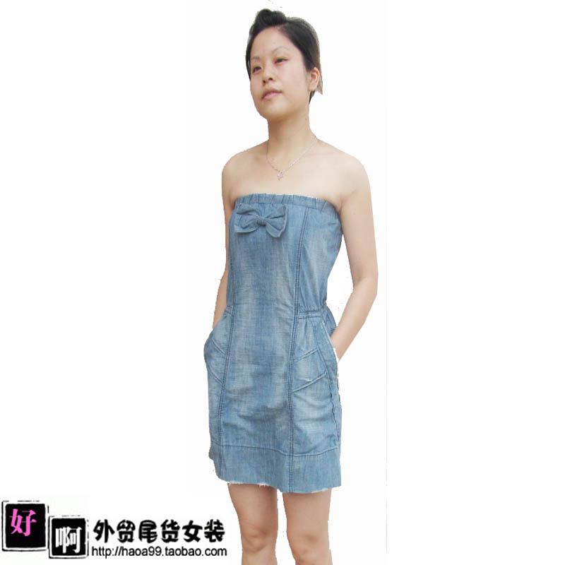 Minkpink water wash light blue tube top denim one piece dress on Aliexpress.com