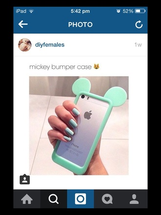 phone cover iphone 5s bumper mickey mouse aqua