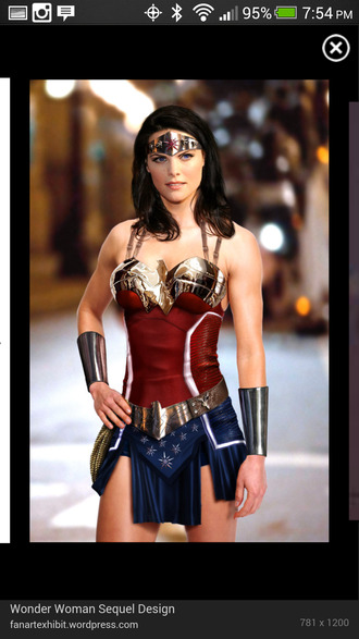 dress wonder woman shiny red white and blue