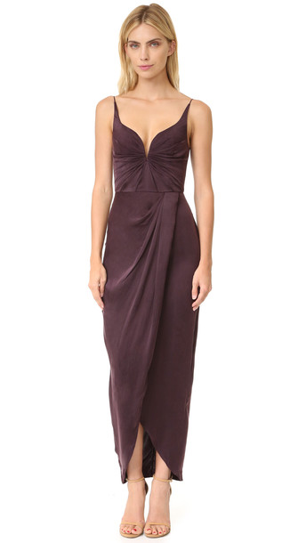 Zimmermann Sueded Drape Long Dress - Burgundy
