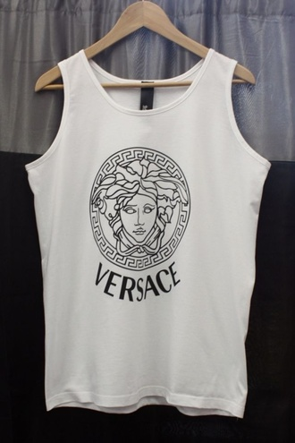 t-shirt versace top clothes streetstyle urban outfitters urban tumblr hipster tank top white tank top shirt trill white vest cute