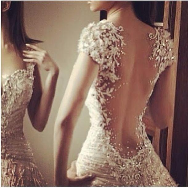 Dress glitter classy beautiful sexy cream dress wedding dress lace
