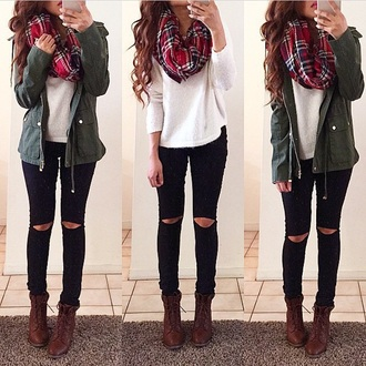 jacket green red winter outfits scarf top cute trendy