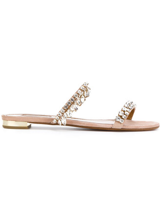 women sandals flat sandals leather nude suede shoes