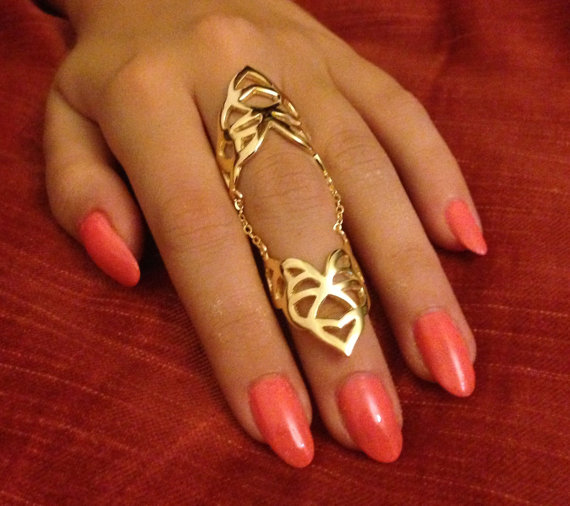 Double knuckle ring, statement armor ring, slave ring, double one finger ring chain, adjustable ring, boho chic ring