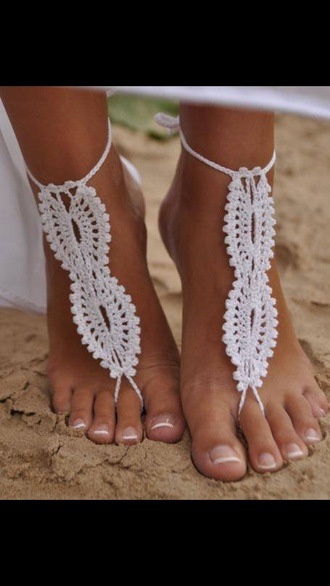 shoes crochet floral knitwear barefoot sandals openwork weaved shoes lace up accessories footwear beach cute sexy beautiful fashion girly outfit sammydress summer foot accessories make-up fashion jewely