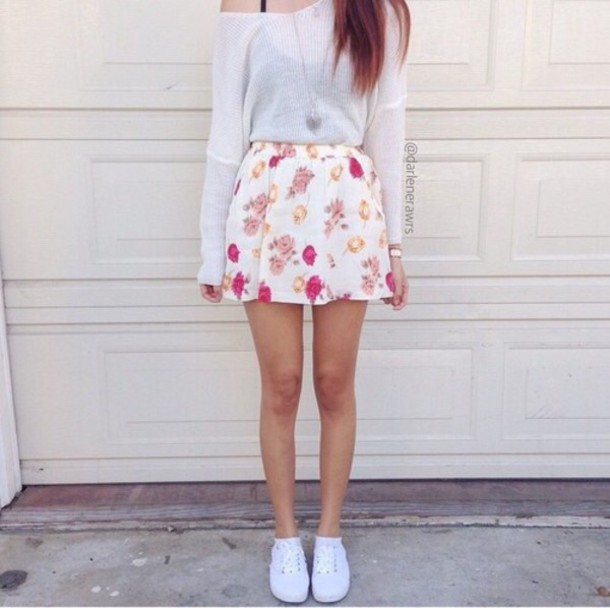 sweater hipster cool pretty girly style skirt
