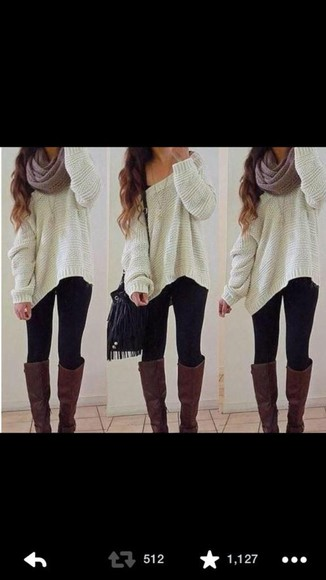 oversized sweater scarf top boots bag cute outfit help me find it (: