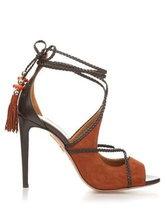 sandals suede dark tan shoes