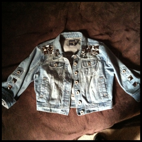 Hand Studded and Spiked Cropped Jean Jacket on Wanelo