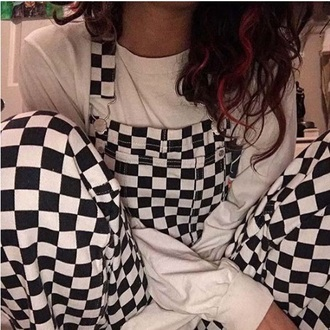 jumpsuit girly tumblr overalls suspenders checkered