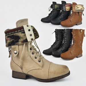 Lace Up Military Army Combat Riding Fold Over Boots Shoes Wild ...