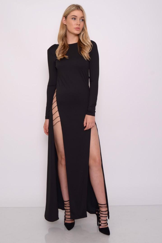 677f1d7022 Black Double High Split Maxi Dress