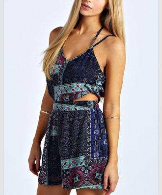 jumpsuit blue tribal pattern romper dress strappy summer spring color/pattern