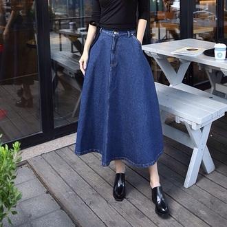 skirt dark blue jeans denim denim skirt long denim skirt button up skirt long skirt fashion trendy 2016 aliexpress forever 21 maxi skirt