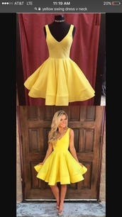 dress,yellow,yellow dress,short dress,asap,formal,vneck dress,homecoming dress,homecoming,flare dress,beautiful,bright,v neck,v neck dress