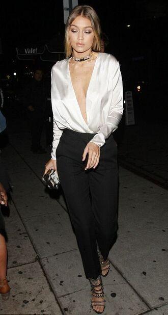 blouse pants black and white gigi hadid sandals plunge v neck shoes