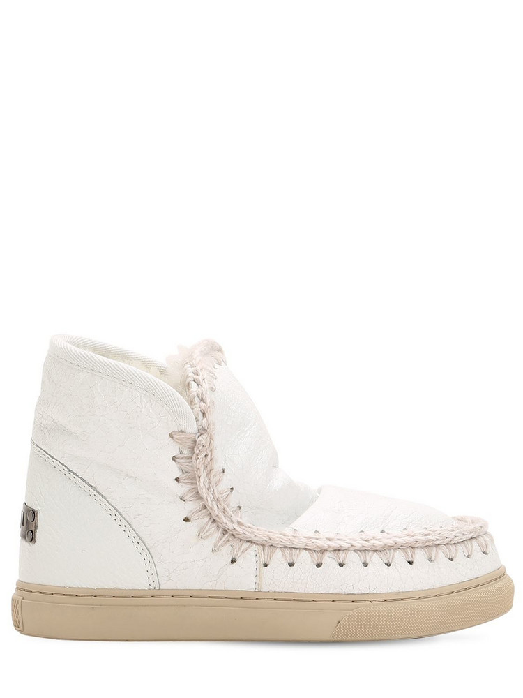 MOU 40mm Mini Eskimo Crackled Leather Boots in white